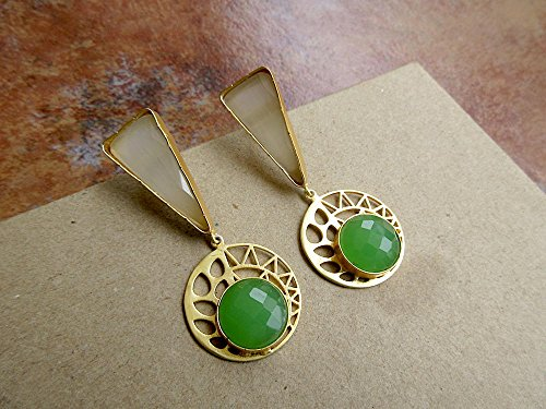 Dangle Kostüm (Off White & Green Geometric Filigree Gold Statement Ohrringe von Enhara / Ethnic Indian Ohrringe / Bohemian Ohrringe für Frauen -)