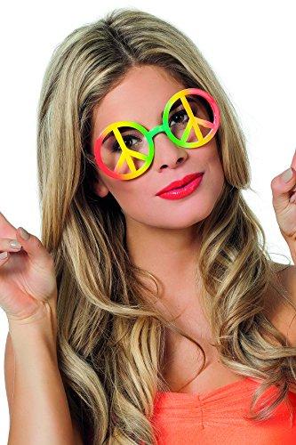 Jannes 20080 Hippie-Brille Peace-Zeichen ohne Gläser Regenbogen