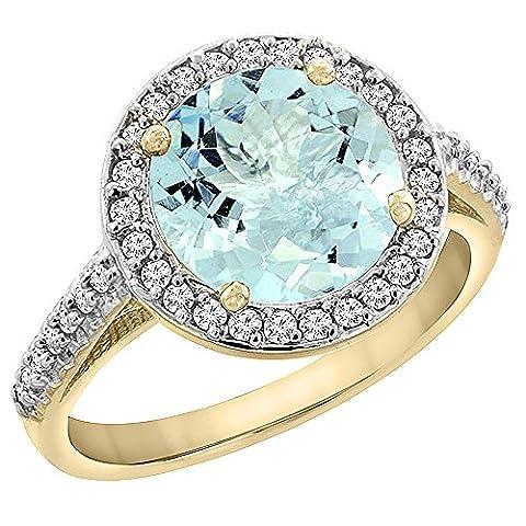 Revoni or jaune 585 or jaune 585/1000 (14 cts) Rond brillant Rond G-H Bleu Aquamarin Diamant FINERING