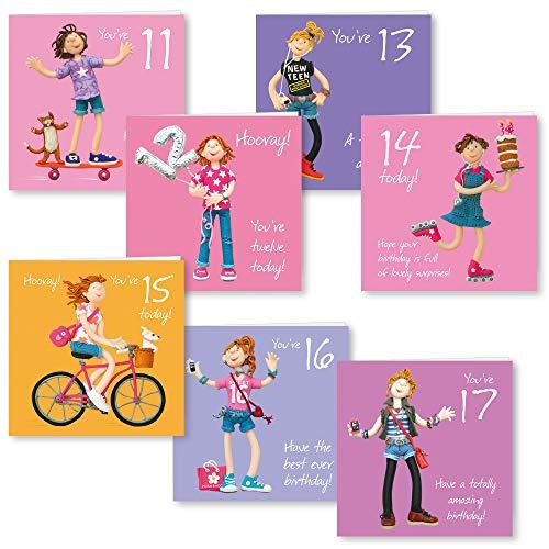 Geburtstagskarten für Mädchen, Motiv One Lump or Two Girls, 11 bis 17