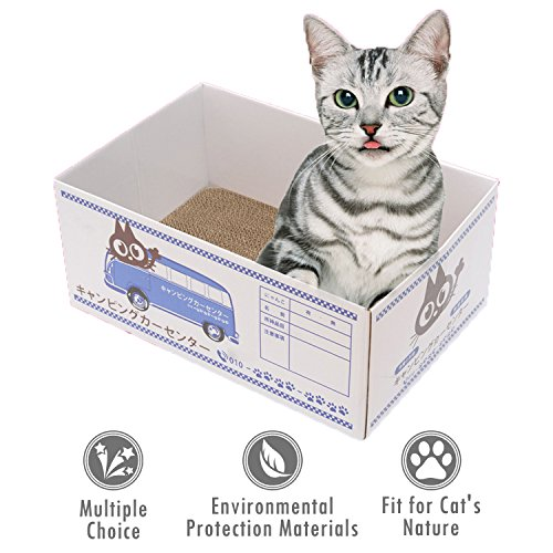 ubest Kratzbrett für Katzen mit Karton Box, 37 x 25 x 15.5CM, Kratzbaum, Kratzmöbel, Katzenspielzeug