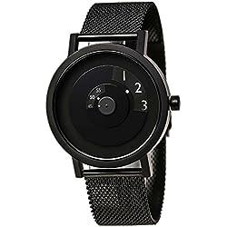 Projekte 7203bm-40Herren Reveal Classic schwarz Zifferblatt schwarz IP Stahl Mesh Armband Armbanduhr