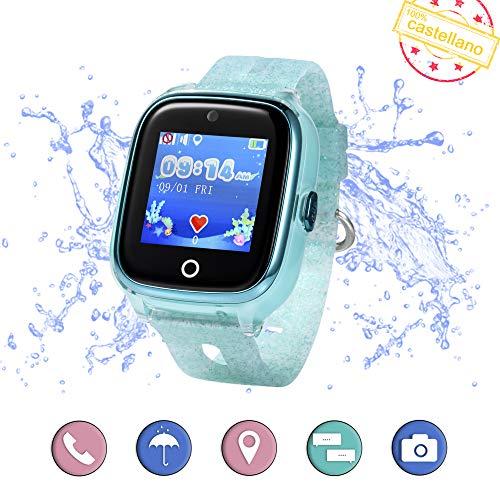 Smartwatch para niños con localizador GPS, Llamadas y cámara de Fotos. Reloj Inteligente acuático con IP67 para niños de 3 a 13 años (Verde Agua)