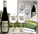 DAS Rotwein-Set | inkl. 2 Rotweingläsern | Cabernet Sauvignon aus Frankreich (Bordeaux) |in der Geschenk-verpackung Silverstar |zwei Rotwein-kelche mit Echt-Gold Emblem