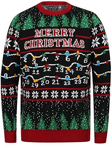 Seasons Greetings Erwachsene Unisex Weihnachts Pullover Designer festlich Weihnachten Pullover - Weihnachten Lichter - Schwarz, Größe XXL (117cm Brustumfang) (Weihnachten Pullover Für Männer)