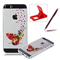 For iPhone SE Case,For iPhone 5s Cover,Herzzer Ultra Slim Fashion [Colorful Butterflies Pattern] Clear Crystal Soft Silicone Gel Bumper Cover Flexible TPU Transparent Skin Protective Case for iPhone SE/iPhone 5/5S + 1 x Free Red Cellphone Kickstand + 1 x Free Claret-Red Stylus Pen