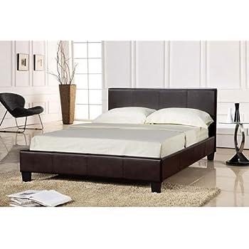 King Size Chocolate Brown Bed Frame 5FT Faux Leather - Prado: Amazon ...
