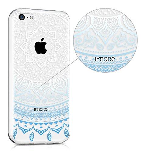 kwmobile Hülle für Apple iPhone 5C - TPU Silikon Backcover Case Handy Schutzhülle - Cover klar Zwei Farben Design Pink Blau matt Indische Sonne Blau Weiß Transparent