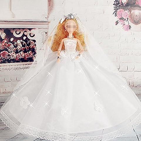 Youvinson Verschiedene Handmade Brautkleider und Kleider für Barbie-Puppen (Weiße Blume)