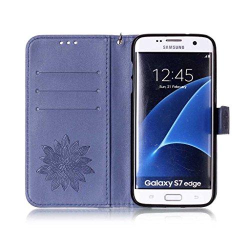 Mo-Beauty, Borsa a spalla donna Gold,Skull Samsung Galaxy S6 Edge Blue,Flower