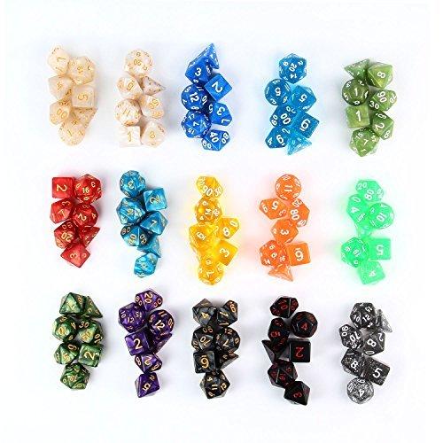 Pawaca 105 Stück Polyedrische Würfel mit Taschen, Polyedrischen Spielwürfel Polyedrische Dice für RPG Dungeons und Dragons Pathfinder, 15 Set von D20, D12, 2 D10 (00-90 und 0-9), D8, D6 und D4