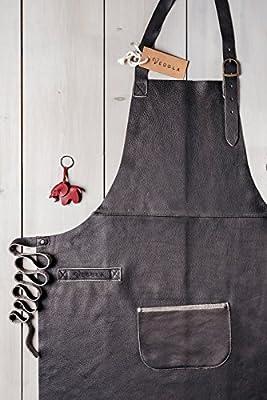VEDGLA Lederschürze – Grillschürze – Kochschürze – Kellnerschürze – Schürze aus hochwertigem Rindsleder mit verstellbaren Riemen und optimaler Passform, 84 cm x 70 cm, in Farbe Dunkelbraun