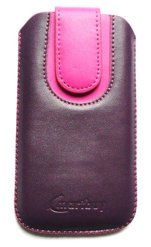 Emartbuy ® Schwarz / Grün Premium Pu Leder Tasche Hülle Schutzhülle Case Cover (Größe X-Large) mit Ausziehhilfe Geeignet Für Apple Iphone 5 Lila / Rosa Hülle