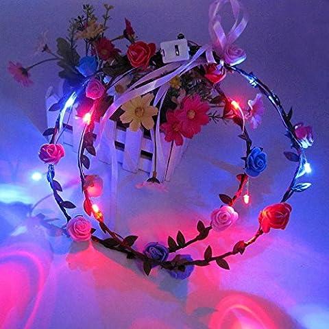 ROUFU Rose di emulazione, che emettono luce tornante, ghirlande luminose, Slon (10 pz)