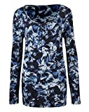 Womens Long Sleeve Round Neck Top in Blue Floral