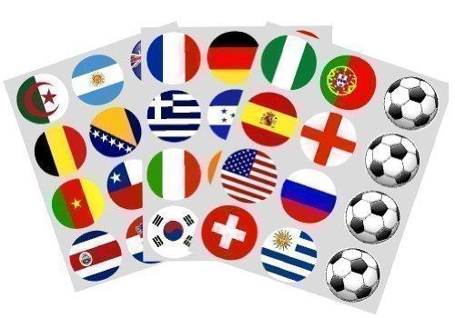 Weltcup 2014 Fußball Flaggen Set 36 Reispapier Cupcake Deckel 40mm vorgeschnitten Dekoration
