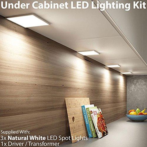 3x LED Unter Schrank/Schrank quadratisch Panel Küche Leuchte & Driver Kit–gebürstet Nickel Finish–Natural/kühles Weiß Beleuchtung Beam–Einbauleuchte/bündig montiert–Counter/Arbeitsplatte Down Lights–Cablefinder (3-panel-natural)