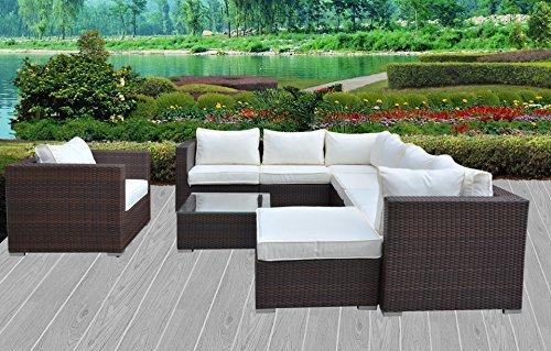 Hansson Polyrattan Lounge Sitzgruppe Gartenmöbel Garnitur Poly Rattan 3 bis 7 Sitzplätze plus Hocker (7 Sitzplätze + 1 Hocker)