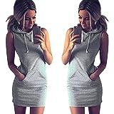 Zhen+ Frauen Ärmelloses Kapuzenkleid Damen Freizeitkleid LangarmSommer-beiläufige Sleeveless Hoody-Kleid der Art- und Weisefrauen (Grau, L)