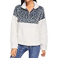 Damen Flaumig Vlies Pullover Tops Reißverschluss Rollkragen Sweatshirt Leopard Zweifarbig Casual Longsleeve Pulli Outwear Faux Fur Kurzjacke Tuniken