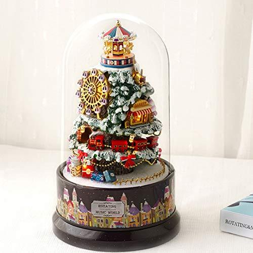 LanLan Decorazioni Natale,Idee Regalo Capodanno/Pasqua/Ognissanti,Music Dollhouse Rotating Cabin Casa delle Bambole Fai-da-Te con Coperchio Trasparente Carillon per i Bambini Regalo di Natale B-030