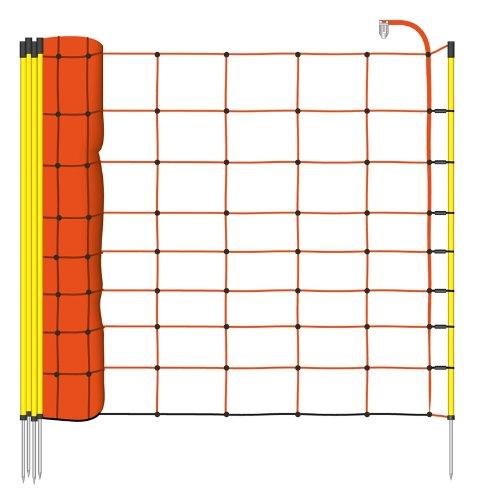 *50m Schafnetz von VOSS.farming, 90cm, inkl. 14 Stäbe mit Metallpitze 1 Spitze, orange Litze, Elektrozaun-Netz, 1 Spitze, orange Litze*