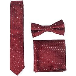 Panegy - Conjunto de Tie Bolsillo Cuadrado Pajarita Para Hombre Novio Adjustable de Poliéster Estilo Retro Simple con Lunares Blanco Para Fiesta Ceremonia - Rojo