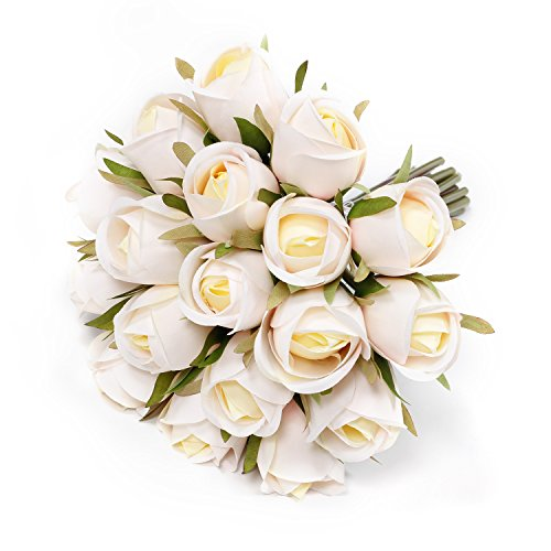 Mittelstücke Blumen Tabelle (EPCTEK 18 Stücke Blumenstrauß Kunstblumen,DIY künstliche Seide Rosen Hochzeit Blumendekoration (champagner))