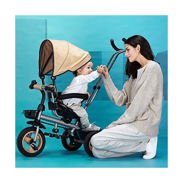 4 In 1 Kids' Trikes 6 Months To 5 Years 360° Swivelling Saddle 2-Point Safety Belt Kids Tricycle Blockable Rear Wheels Heigh Adjustable Handlebar Child Trike Maximum Weight 25 Kg,Brown BGHKFF ★Material: Steel frame, suitable for children from 6 months to 5 years old, the maximum weight is 25 kg ★ 4 in 1 multi-function: can be converted into baby strollers and tricycles. Remove the hand putter and awning, and the guardrail as a tricycle. ★Safety design: Golden triangle structure, safe and stable; front wheel clutch, will not hit the baby's foot; 2 point seat belt + guardrail; rear wheel double brake 1