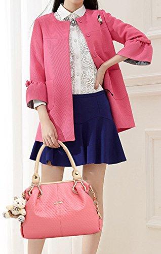 Longzibog Dual verstellbare Schultergurte und Hängeschlaufenband Mode Simple Style Fashion Tote Top Handle Schulter Umhängetasche Satchel Pink 1
