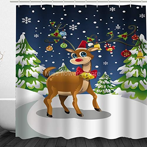 Shower Curtains - Cartoon Christmas Tree Elk Decoration Pattern Design Custom Shower Curtains Bathroom Waterproof - African Mint Easter Floral York Brown Zebra Duty Marble Hookless Quotes Colo Lenox Blue Tree