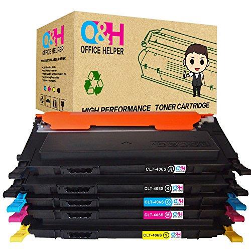 OFFICE HELPER CLT-K406S kompatibel Tonerpatronen für Samsung CLP-360 CLP-360N CLP-365 CLP-365W CLP-368 CLX-3300 CLX-3305 CLX-3305FN CLX-3305N CLX-3305W CLX-3305FW Xpress C410W C460W C460FW C467W (2Schwarz, Cyan, Magenta, Gelb)