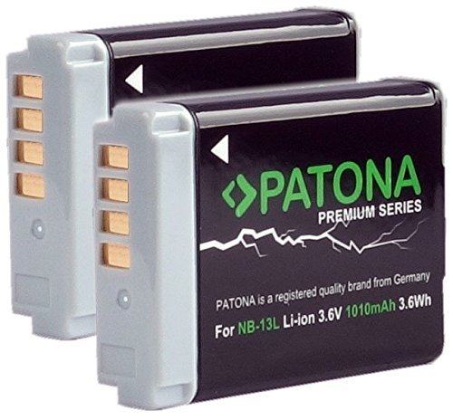 2x Patona Premium Li-Ion Akku für Canon NB-13L (echte 1010mAh) für -- Canon PowerShot SX620 SX720 SX730 G5 X G7 X G9 X und G7 X Mark II G9 X Mark II