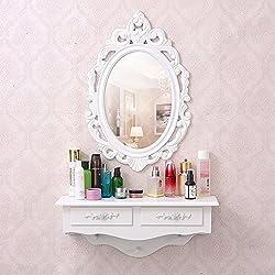 Espejo de tocador SZFMMY®, montado en la pared, cajón de almacenamiento, cajón de madera, estilo vintage.