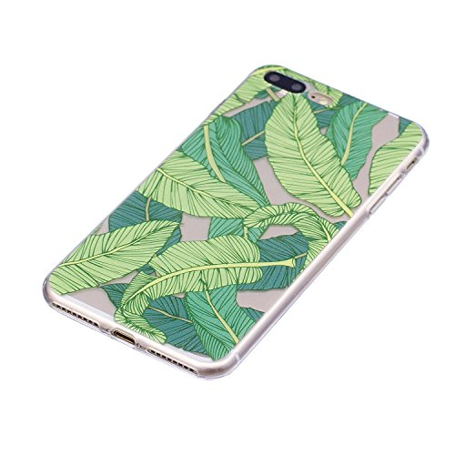 Custodia per iPhone 8 Plus 5.5,Silicone Cover per iPhone 7 Plus 5.5,Leeook Creativa Bello Carina Gatto Painted Design Ultra Sottile Morbida Transparent TPU Gel Cover Case Shock-Absorption Anti Scivo Verde Banana Foglia