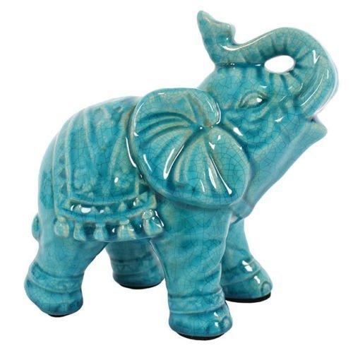 Lucky gran tronco azul - turquesa elefante ornamento Figurne 18 cm en caja