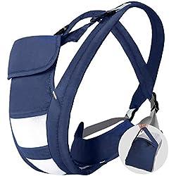 Mochila Portabebés Ergonómico y Transpirable de Algodón con 4 Modos para porta Bebé de 3-24 Meses(3.5-20kg), Color Azul -Hommie