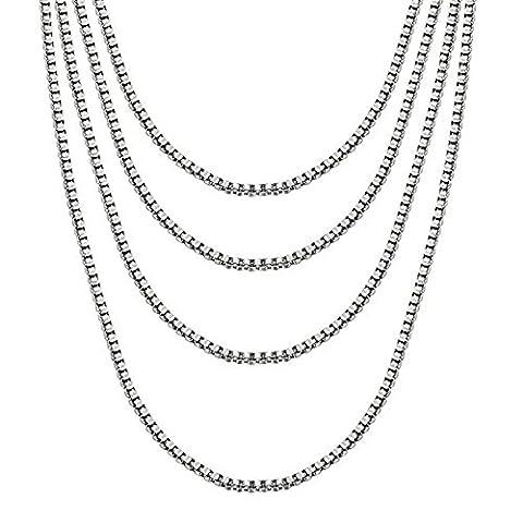 Vnox Sets 4 Pieces 3mm Edelstahl italienische Venetian Box Ketten Halskette für Männer Frauen Silber,46cm+51cm+56cm+61cm Länge