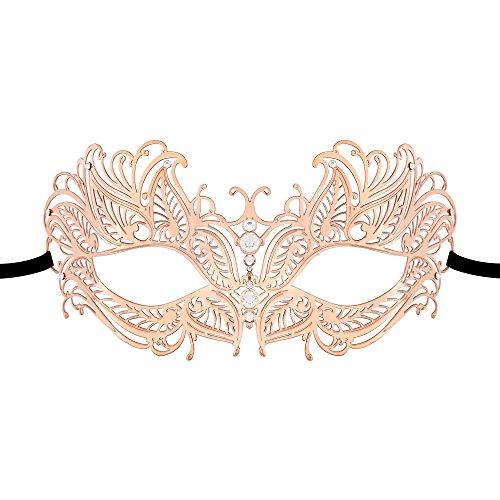 Thmyo Venetian Masquerade Frauen Maske, Laser Cut Metall Halloween Mardi Gras Party Maske (Roségold) (Gras-masken Für Frauen Mardi)