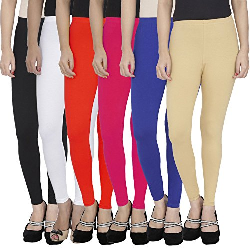 Women\'s Soft and 4 Way Stretchable Ankle Length Leggings Combo (Pack of 6) - Free Size