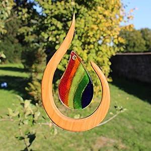Fensterdeko aus Holz Regentropfen bunt zum Aufhängen | Regenbogenkristall | Fensterschmuck Tautropfen | Fenster Deko | Geschenkidee