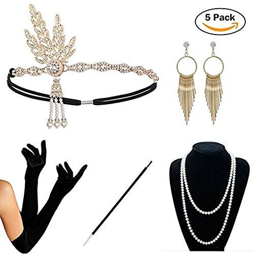 1920s Damen Stirnband 20er haarschmuck Headband silber golden Jahre Rundes Stirnband mit Perlen Inspiriert Gatsby Accessoires für Damen (Gold Set)