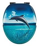 WC-Sitz Dekor Dolphin Dream | Toilettensitz | WC-Brille aus Holz | Soft-Close-Absenkautomatik | Klodeckel mit Metall-Scharnier | Fast-Fix-Schnellbefestigung Toilettendeckel