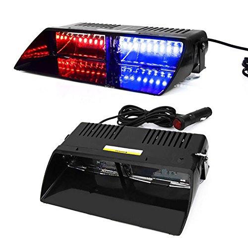 Zhuotop New Car 16 LED Rouge/bleu de la police Strobe Flash Light Dash d'urgence lumière clignotante