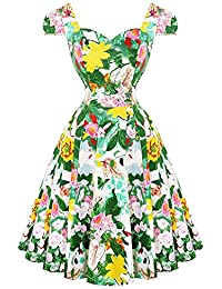 Hearts & Roses London Grün Botanisch Blumenmuster 1950s Vintage Sommer Sonnenkleid Hervorragende Qualität