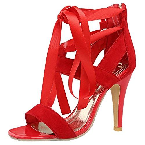 TAOFFEN Femmes Mode Aiguille Sandales Talons Hauts Bout Ouvert Fermeture Eclair Chaussures Con Cordones Rouge