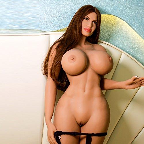 5.77ft Sexpuppe mit Großen Brüsten Real Girl Sex Doll TPE Material mit Realistisch 3 Öffnungen Oral Anus Vagina Sex Erwachsene Puppen Spielzeug für Männer (Tan, Normal Füße)