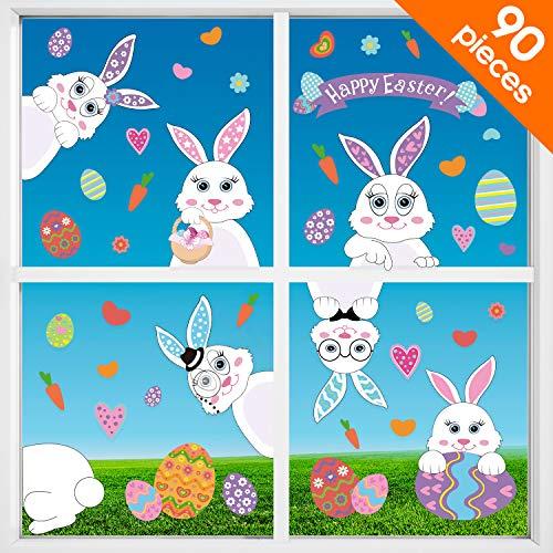 Blulu 90 pezzi decorazioni pasquali adesivi coniglietto di uova di pasqua finestra aderente coniglietto decalcomanie decorazioni per finestre porta di pasqua ornamenti per feste domestiche