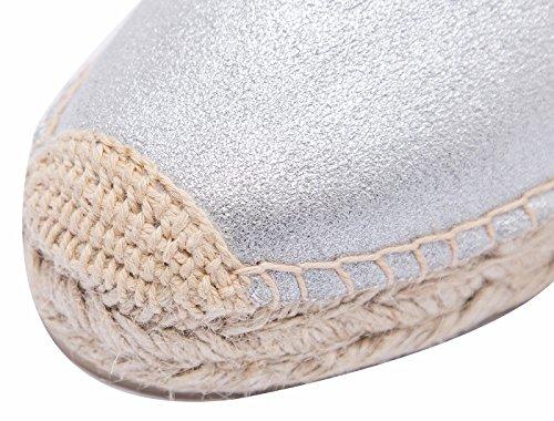 Classic Femmes Slip-on Flats à la cuir respirante Espadrilles Flâneur Chaussures Argent