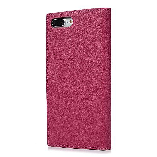 """MAXFE.CO Schutzhülle Tasche Case für iPhone 7 Plus 5.5"""" PU Leder Flip Tasche Cover Einfarbig Geschäftstil im Ständer Book Case / Kartenfach Braun Weinrot"""
